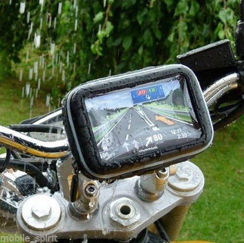 estuche gps o celular con soporte, impermeable. moto o bici