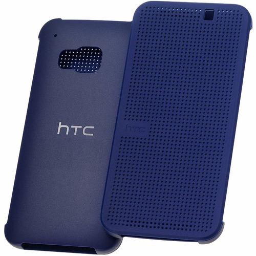 estuche htc one m9 dot view original azul flip cover