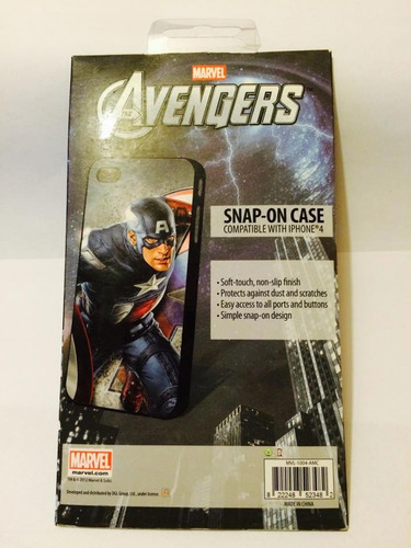 estuche iphone 4/4s marvel the avengers capitan america, new