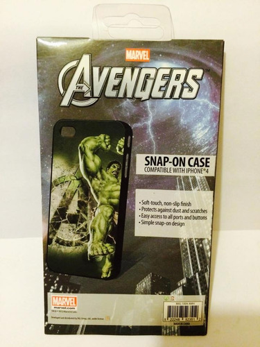 estuche iphone 4/4s marvel the avengers hulk, nuevo.