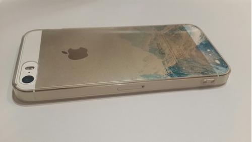 estuche iphone 5 5s case paisaje montañas + mica de vidrio