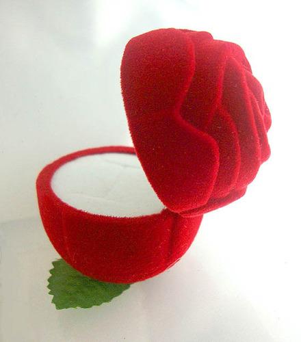 estuche joyería rosa sin tallo, flor, regalo, caja, anillo
