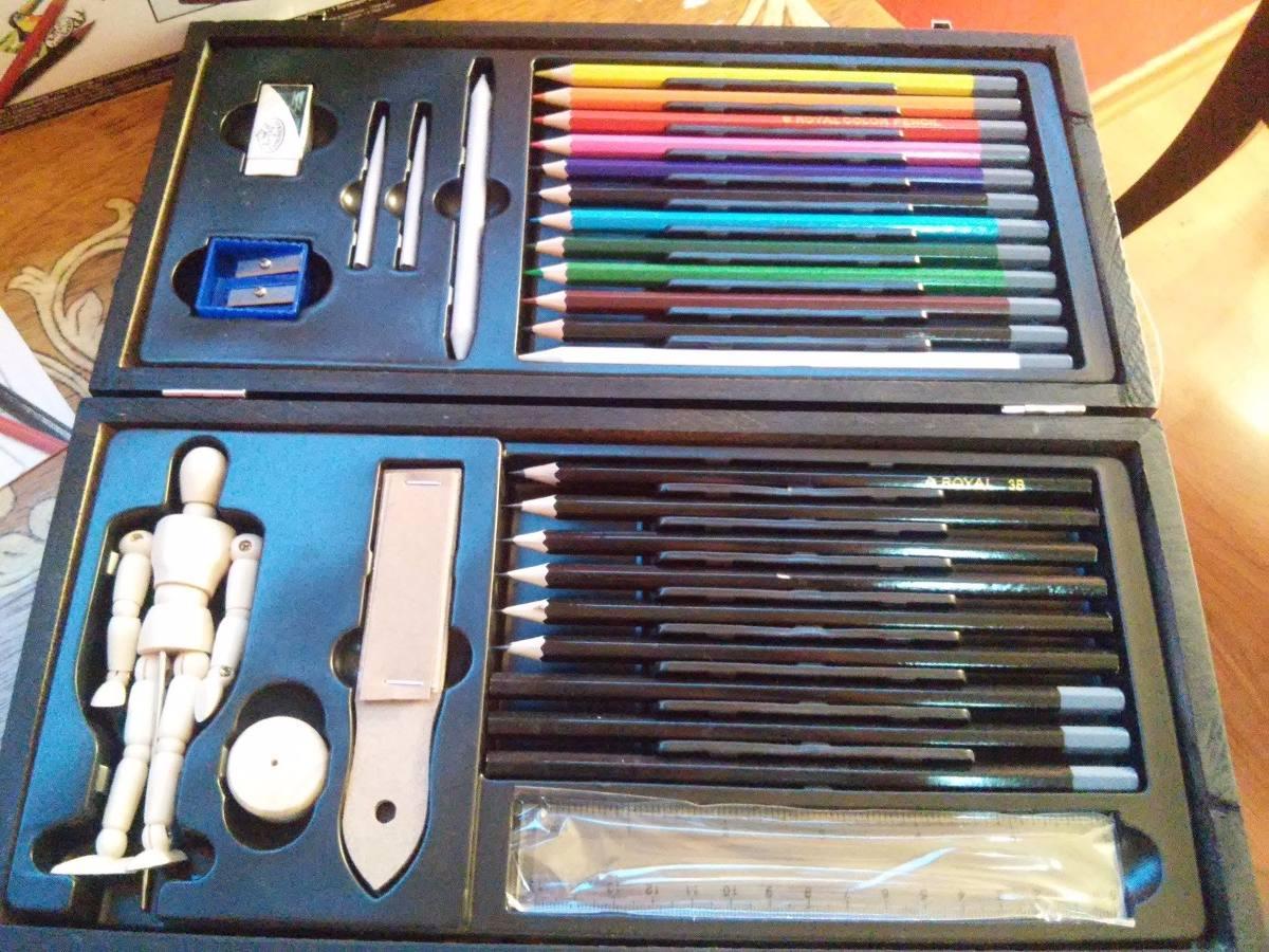 Estuche Kit Dibujo Artistas Arte Colores Lapices 89900 En