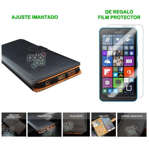 estuche nokia lumia 640 xl premium funda cuero tarj. + film
