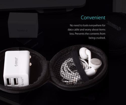 estuche para audifonos y cargador marca orico.