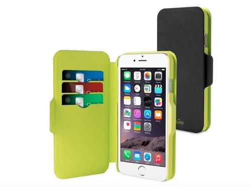 estuche para iphone 6/6s tipo folio puro en negro/verde