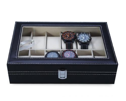 estuche para relojes 12 piezas exhibidor ahlajero almohadill