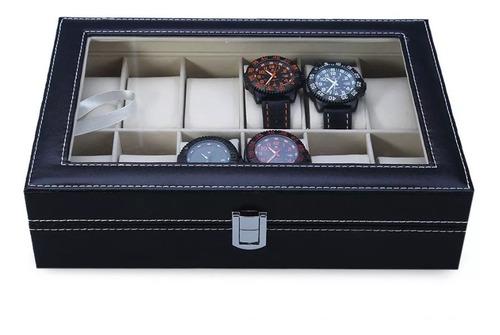 estuche para relojes caja exhibidor alajero relojero con almohadillas capacidad de 12 piezas