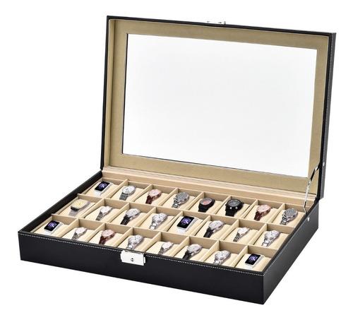 estuche para relojes caja exhibidor alajero relojero con almohadillas capacidad de 24 piezas