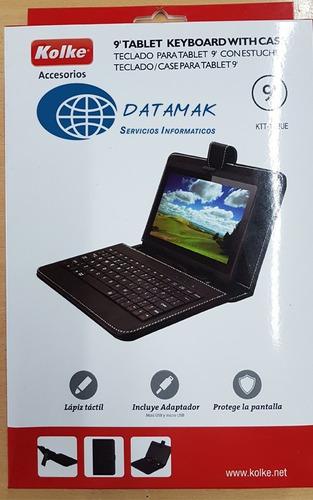estuche para tablet 9  + teclado + lápiz tactil - kolke