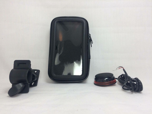 estuche porta celulares de  moto impermeable + cargador