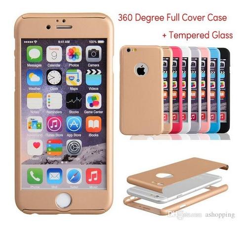 estuche protect 360° iphone 6, 6s, 6 plus, 7, 7plus + vidrio