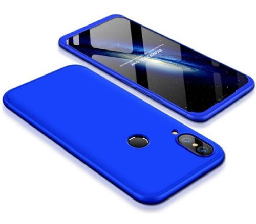 estuche protector 360 huawei p20 lite azul + vidrio 5d negro