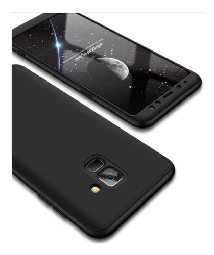 estuche protector 360 samsung galaxy a8  2018 negro + vidrio