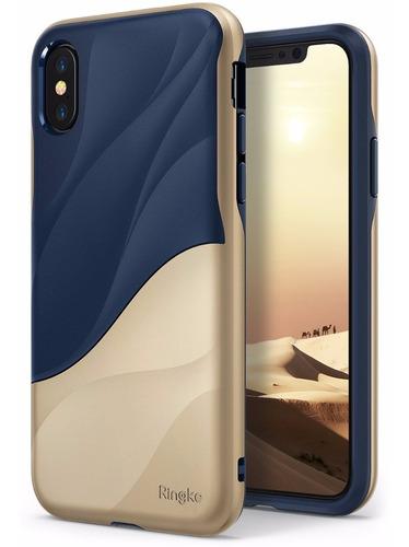 estuche protector ringke wave iphone x - dorado/azul