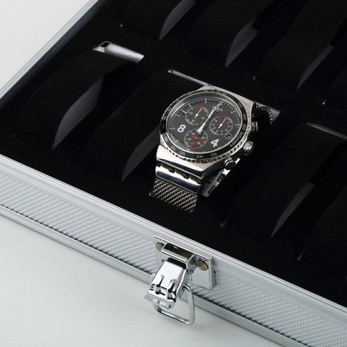 estuche relojes caja exhibidor alajero reloj 12 piezas metal