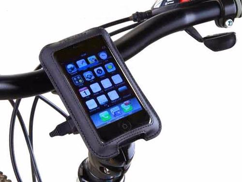 estuche soporte celular moto bicicleta cuero sintetico fino