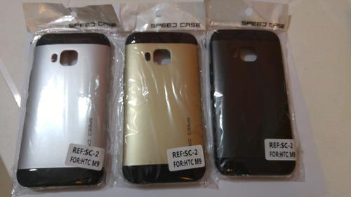 estuche speed case htc one m9 dorado negro y plateado c/u