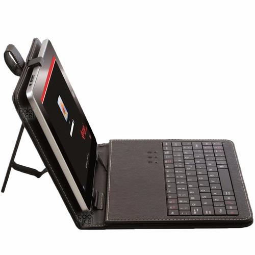 estuche tablet con teclado 10 pulgadas funda eco cuero + otg