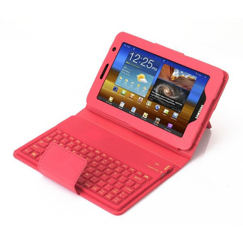 estuche teclado bluetooth samsung tab 2 de 7 pulgadas rojo