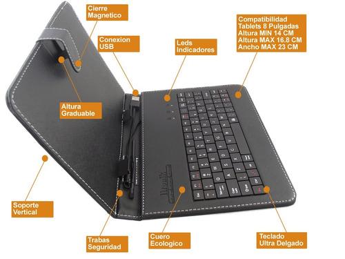 estuche teclado usb tablet 8 pulgadas morado