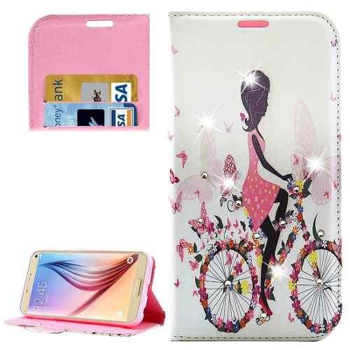 estuche telefono para galaxy funda cuero ciclismo girl