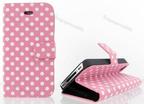 estuche tipo agenda iphone 4 4s diseno lunares rosa mujer