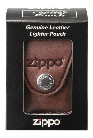 estuche zippo de cuero marron original usa lpcb