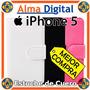 Estuche Cuero Iphone 5 5s Funda Forro Protector Tipo Libreta