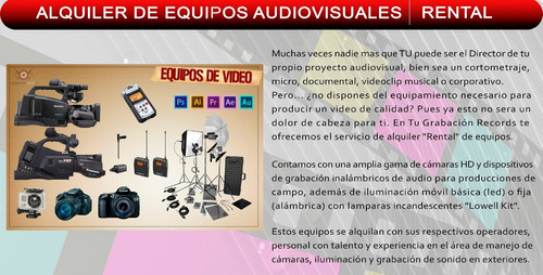 estudio de grabacion de audio + grabación y edición de video