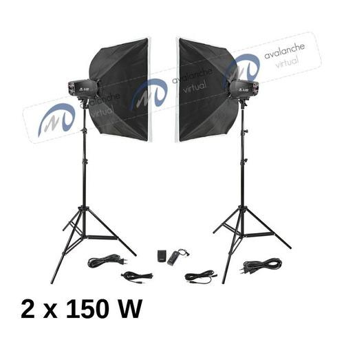estúdio fotográfico 300w 110v odonto softbox 45x45 k150 sme