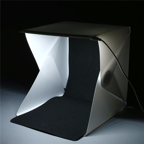 estudio portatil cabina fotografica plegable led 22x24x24cm