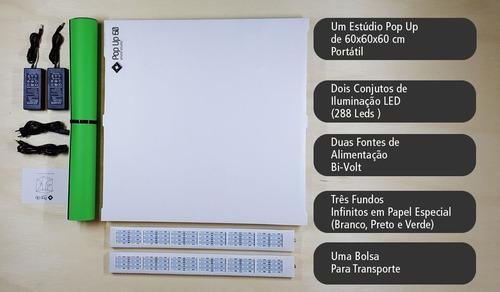 estúdio portátil mutu pop up 60 iluminação fotografia led