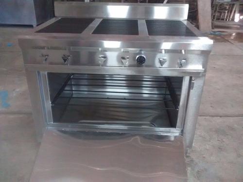 estufa acero inox, 6 quemadores, plancha y horno