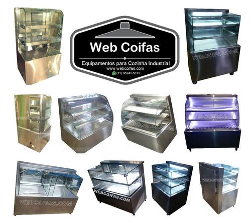 estufa balcão quente, para salgados, vidro reto ou curvo.