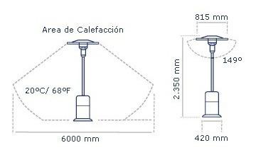 estufa calefactor exterior jardin acero mesa+rueda 10.000cal