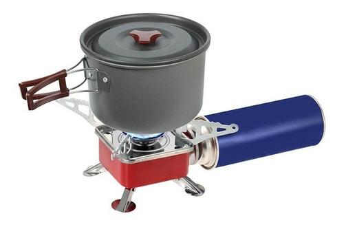 estufa camping montaña parrilla fogón portable + pipeta gas