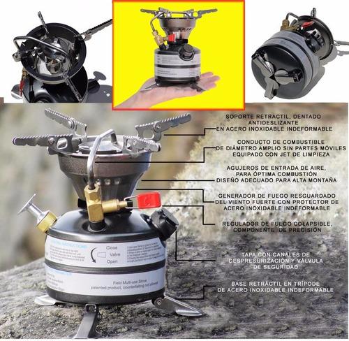 estufa camping multicombustible brs -12a, carpas