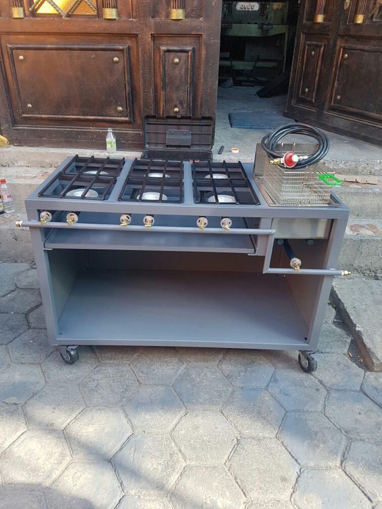 Estufa de 6 hornillas y freidora de una tina 4 for Cuanto vale una estufa industrial