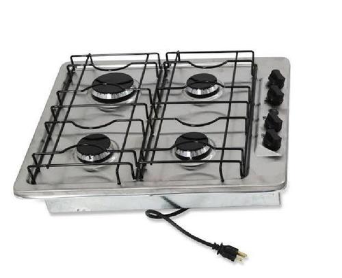 estufa de gas 4 quemadores acero inox c/encendido envio grat