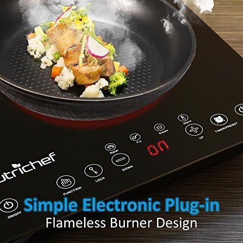 estufa de inducción eléctrica doble portátil de 120v nut