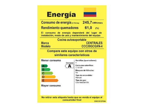 estufa de piso centrales gas 20  gabinete gris ccc20gcgxn-4