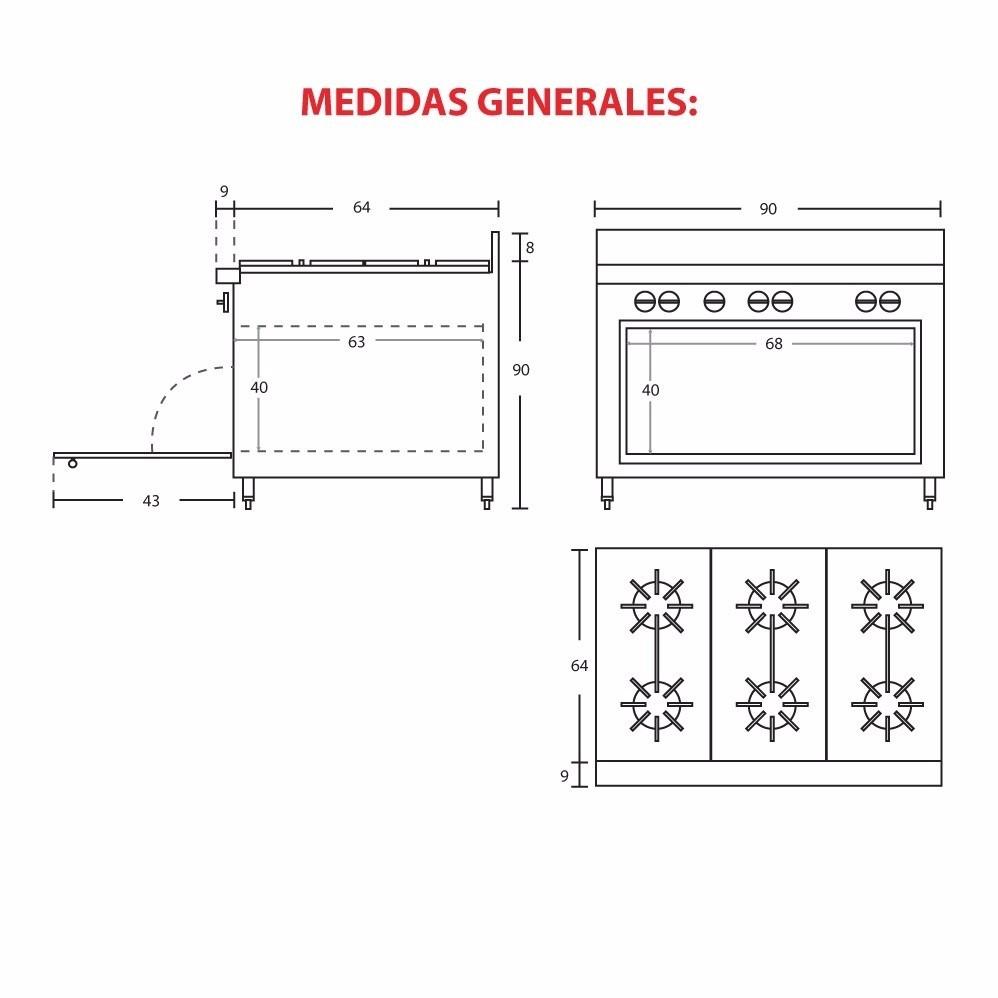 Estufa e6qhi 6 quemadores restaurante inoxidable horno for Medidas de hornos pequenos
