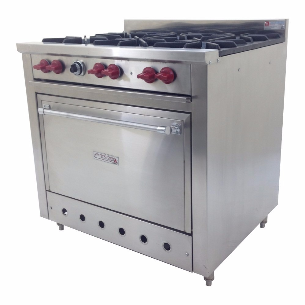 Estufa e6qhi 6 quemadores restaurante inoxidable horno for Estufa industrial acero inoxidable
