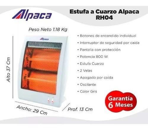 estufa electrica halogena 800w infrarroja cuarzo rh04 alpaca