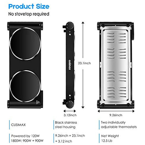 estufa eléctrica portátil quemador infrarrojo doble de 1800