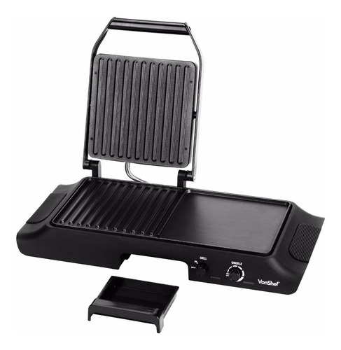 estufa electrica vonshef electric grill griddle, sandwich