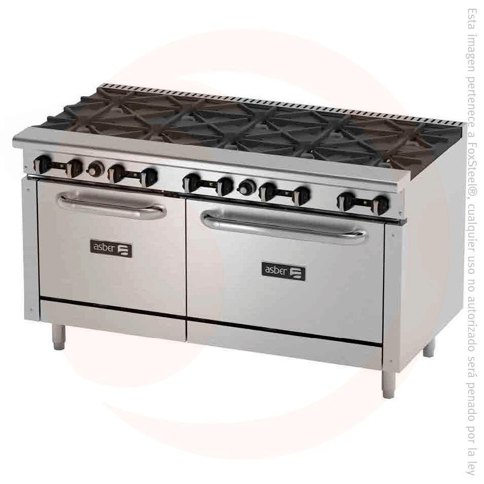 Estufa industrial 10 quemadores 2 hornos asber aer b10 60 for Estufa industrial precio