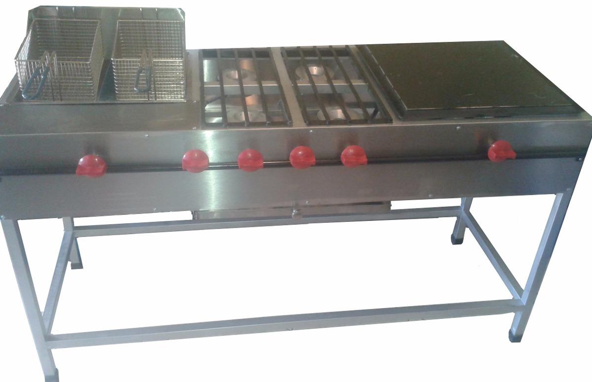 Estufa industrial 4 quemadores plancha y freidora doble for Estufa industrial precio