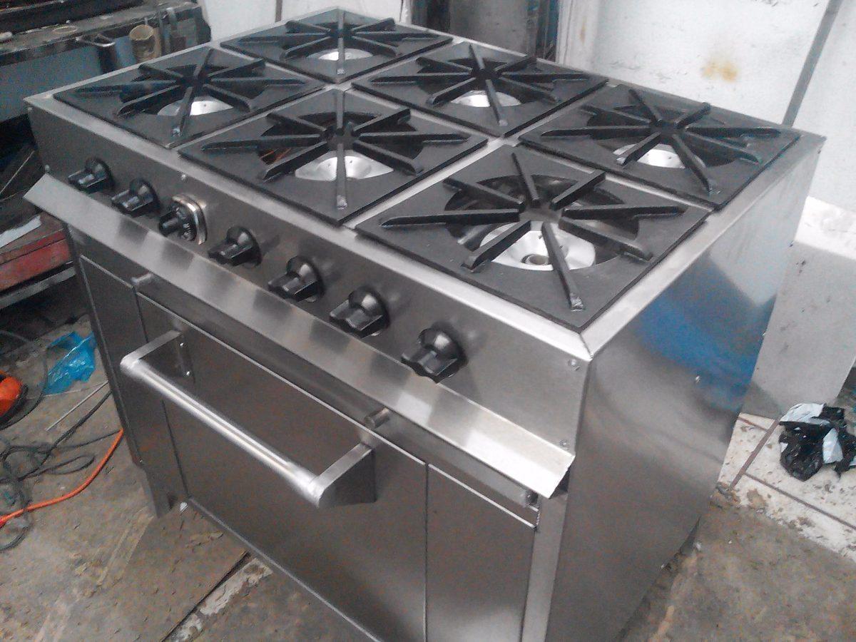 Estufa industrial 6 quemadores y horno 15 en for Cuanto vale una estufa industrial